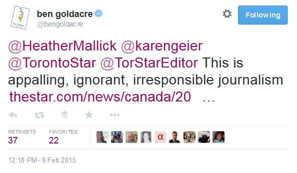 FireShot Screen Capture #086 - 'ben goldacre on Twitter_ _@HeatherMallick @karengeier @TorontoStar @TorStarEditor This is appalling, ignorant, irresponsible journalism